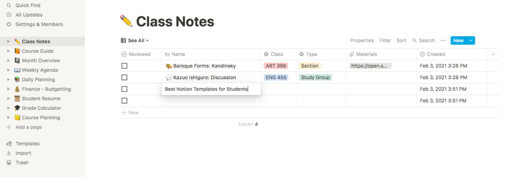 Best notion templates for students